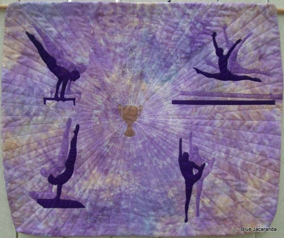 Sale Gymnastics Art Quilt Wall Hanging In By Bluejacaranda