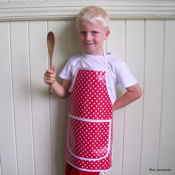 Child's Apron Polka Dots Red and White Cooking Baking Painting Art Smock