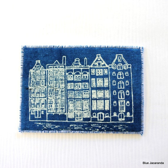 Dutch Houses Mini Art Card ACEO Screen Print on Fabric White on Blue