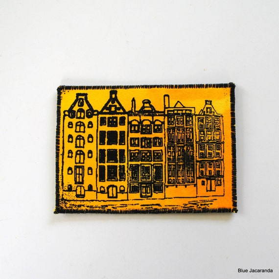 RESERVED FOR MARYANN Dutch Houses Aceo Screen Print on Fabric Black on Yellow Mini Art Card