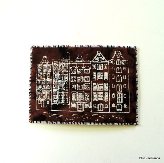 Dutch Houses Mini Art Card Screen Print White on Brown ACEO