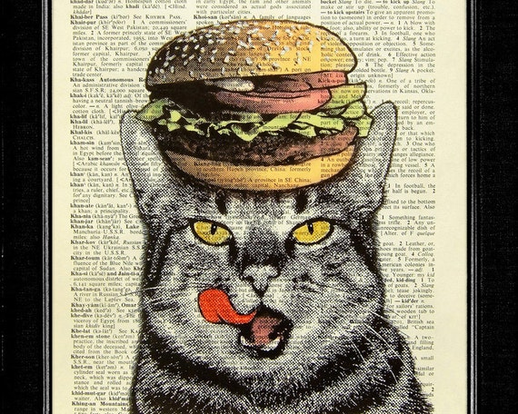 Cat Art Print - Hamburger Cat - ORIGINAL ARTWORK hand painted art print on Vintage Dictionary page, Dictionary art, Dictionary print