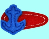 ANCHOR AWAY....  Felt hair clips in Red, White and Blue