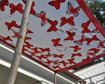 Orange Butterflies with Gold Dragonflies
