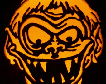Hand-carved foam pumpkin for Halloween