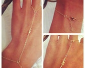 14k Gold Filled Hand Chain With Crystal & Gold Glitter Beads