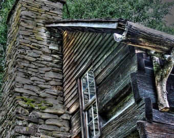 Old Cabin and Chimney and Wooden Gutter