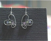 Heart - Earrings, Wire with crystal beads