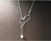 Curious Cat Necklace - Sterling Silver, Fresh Water Pearl