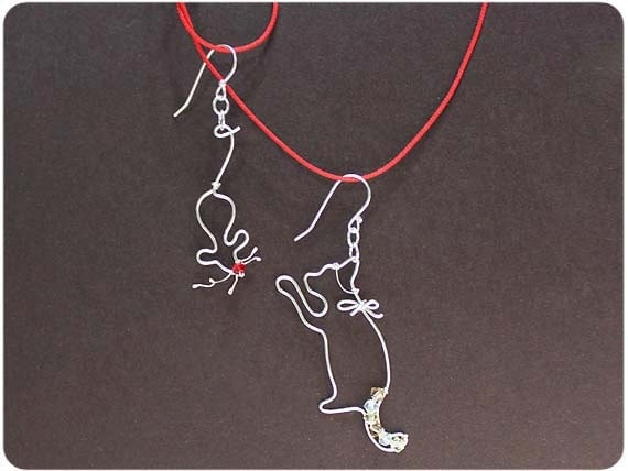 Cat and Mouse Earring- Sterling Silver, Crystal beads