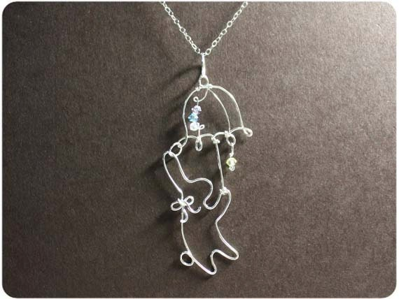 Rabbit and Umbrella, Necklace Pendant - Sterling Silver, Crystal beads
