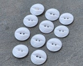Vintage Round White Art Deco Buttons - Destash Lot of 11
