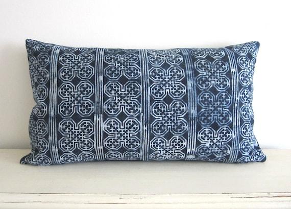 """Indigo blue batik Hmong textile cushion cover 20""""x11"""""""
