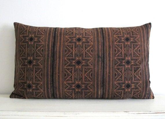 "Hand block printed Hmong textile cushion cover 19""x11"""
