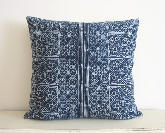 "Indigo blue batik Hmong textile cushion cover 18""x18"""