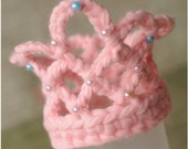 Baby Girl Princes Crown, pink, multicolored or white crochet baby hat, perfect newborn photo prop.
