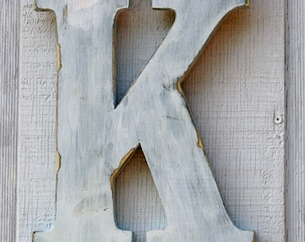 "Rustic Wooden Letters K Distressed Painted White,12"" Tall Click here for more selections"