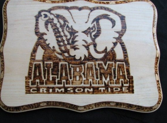 Pyrography Woodburning Alabama Crimson Tide By