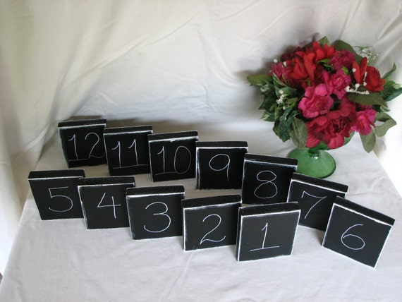 Wedding Chalkboard Table Numbers Wedding Decor Reception Rustic Table Number Decorations, Shabby Chic Chalkboard Signs Set of 12 reusable