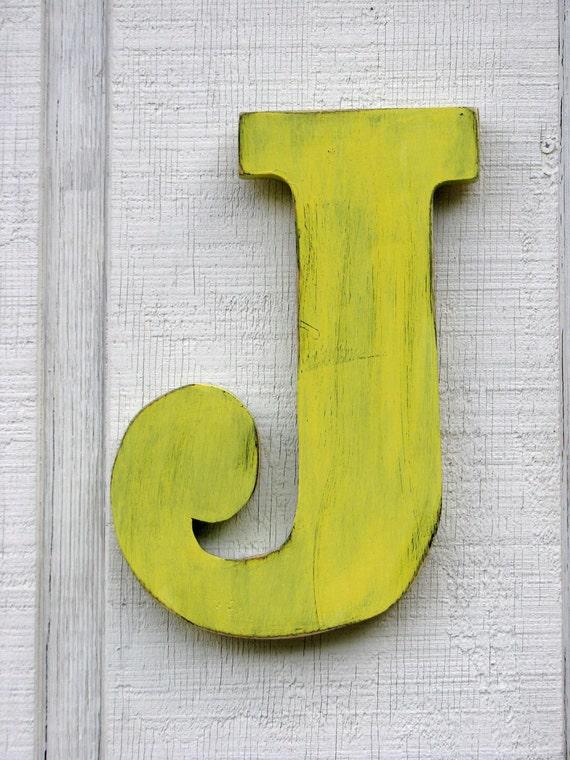 "Baby Nursery Initial Rustic Wooden Letter J Distressed Painted sunshine yellow,12"" tall Wood Name Letters, Custom Wedding Gift"