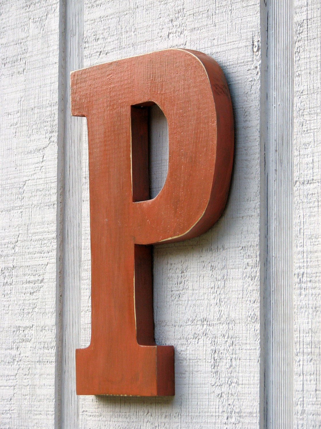 Shabby chic 12 rustic wooden large letter p distressed for Large wooden letter p