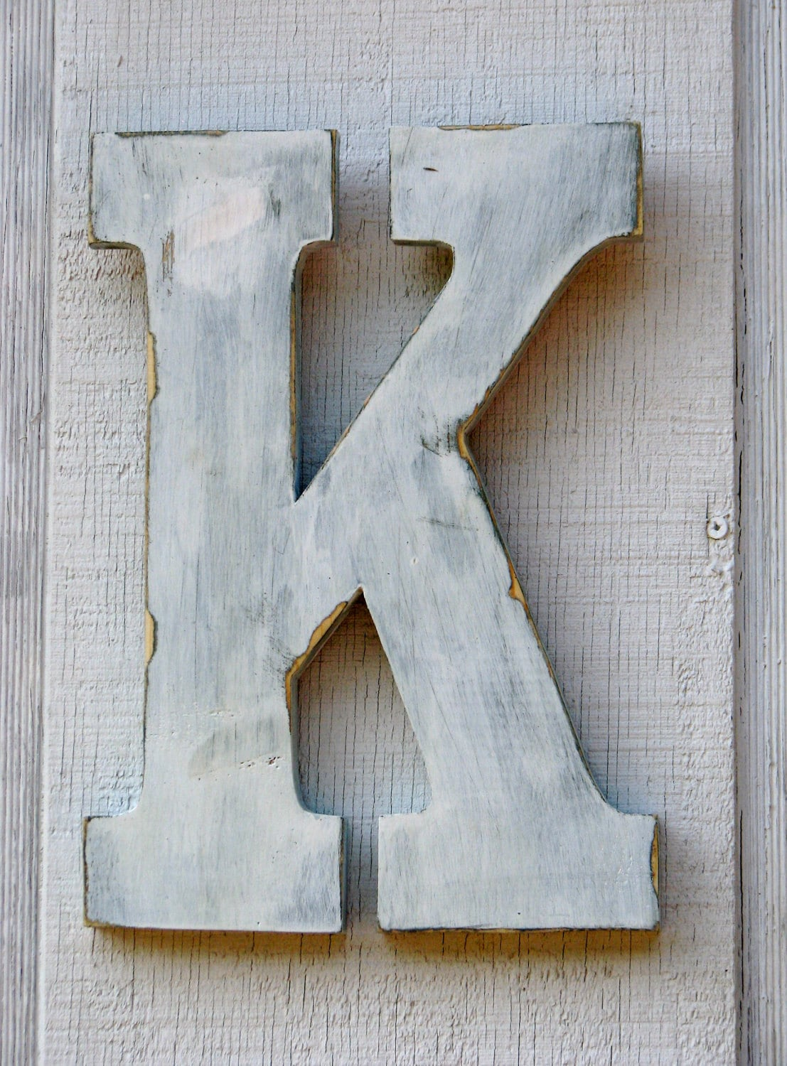 2 feet rustic wooden letter k distressed painted white. Black Bedroom Furniture Sets. Home Design Ideas