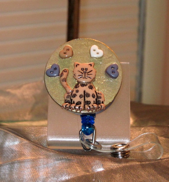 Cute Cat Lovers Kitty Cat Love Retractable Badge  Reel ID  Holder or Name Card