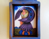 Raven's Shrine (rav001), in blue & purple. Image of woman w/ raven under a new moon, jade and lapis beads by Julie Higgins/Nansee New