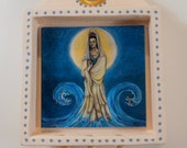Quan Yin Shrine (qy002), wall hanging of the Buddhist Bodhisattava Goddess of Compassion in blue, turquoise and gold by Diza Hope/Nansee New