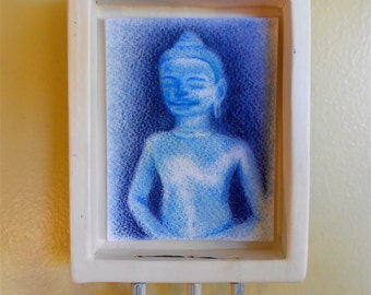 Buddha Hanging Wall Shrine (bb005), iconographic painting in blue by Robin Whealdon/ Nansee New, Casa Luz