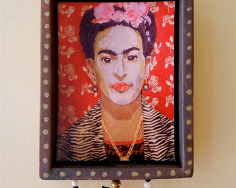 Frida's Shrine mixed media paper collage wall hanging of the Mexican artist in red w/ roses, love birds - Nansee New of Casa Luz (fs006)