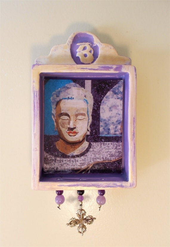 Buddha Hanging Wall Shrine (bs002) or Altar in clay shadow box, collage by Sandy Oppenheimer/ Nansee New/Casa Luz