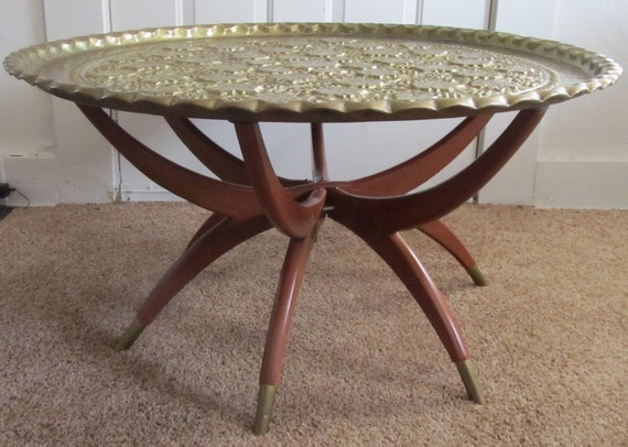 Moroccan Style Brass Top Coffee Table By Remnantpdx On Etsy