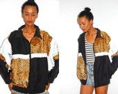 Vtg Sequined Silk Black White Gold Zip Up Jacket