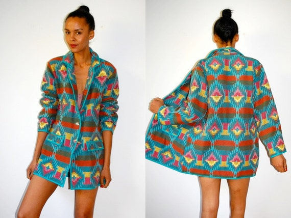 Vtg Colorful Tribal Southwest Print Button Down Coat