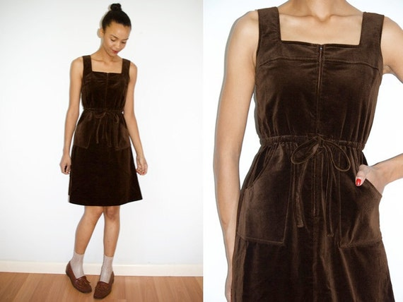 RESERVED Orlala1: Vtg Velour Chocolate Brown Drawstring Front Zip Up Dress