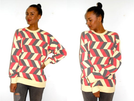 Vtg Color Block Herringbone Retro Yellow Pink Grey Knitted Grandpa Sweater