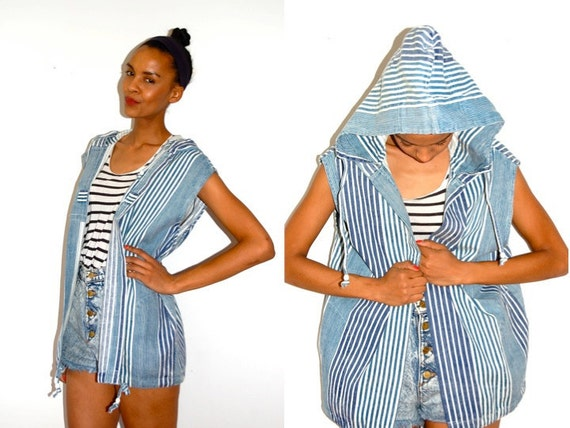 Vtg Blue & White Mix Striped Slouchy Open Hooded Jacket