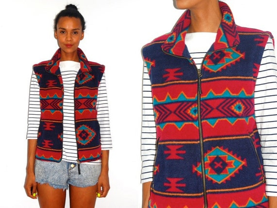 Vtg Tribal Aztec Print Fleece Zip Up Vest