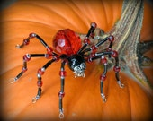 Red and Black Beaded Spider Brooch Pin