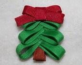Handmade Christmas Tree Clip//Christmas Bow//Christmas Clip