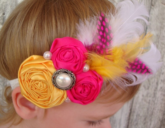 Yellow HEADBANDS-Yellow Flower Headbands-Yellow flower headband-Yellow Rosette Headbands-Baby Headbands-Baby Head Band-Shabby Headbands