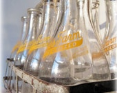 Glass Milk Bottle Set with Galvanized Metal Crate Antique Vintage Advertising Farm Country Kitchen Farmhouse Primitive Orange Dairy Decor