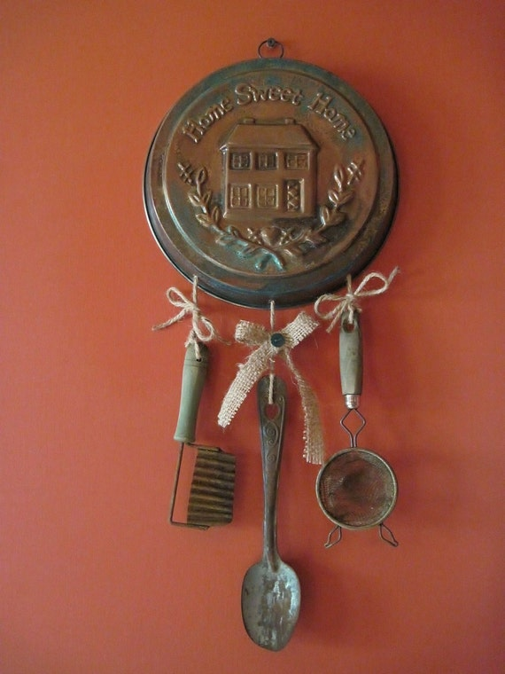 Vintage Cake Pan Kitchen Utensils Wall Hanging Home Sweet Home Repurposed One of a Kind