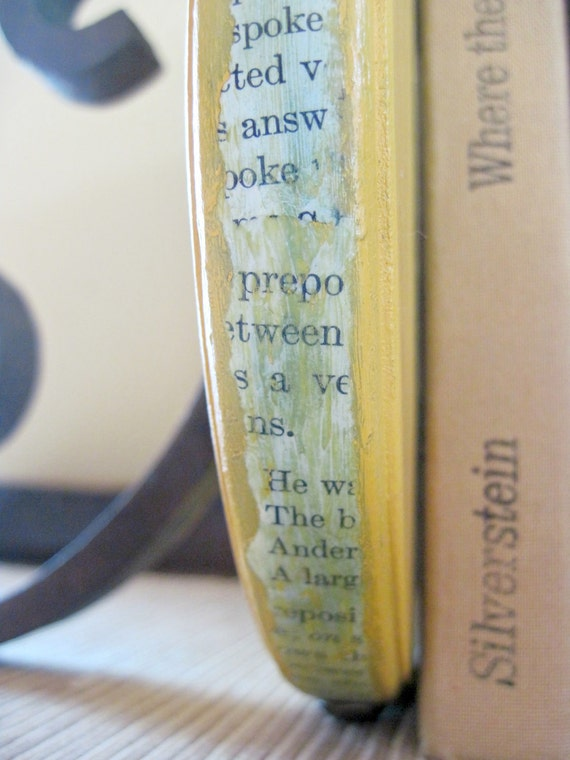 Bookends Vintage Cast Iron Bracket & Wood Dark Yellow Vintage Book Page Decoupage Bookends