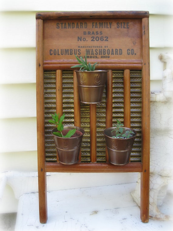Vertical Planter Repurposed Vintage Washboard By