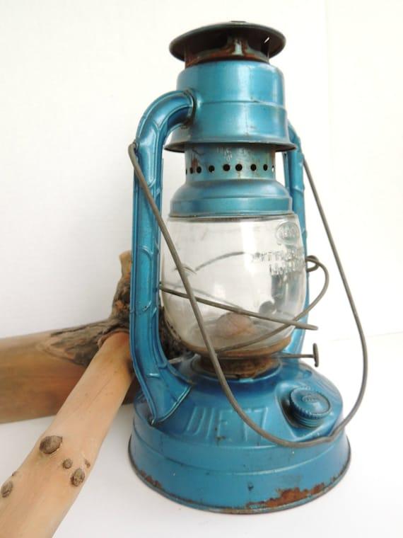 Vintage Lantern Blue Dietz Little Wizard Kerosene Lamp Embossed Glass Railroad Cabin Rustic Camping Lighting