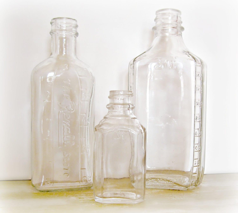 Antique glass medicine bottles embossed by reclaimedgrace for Retro glass bottles