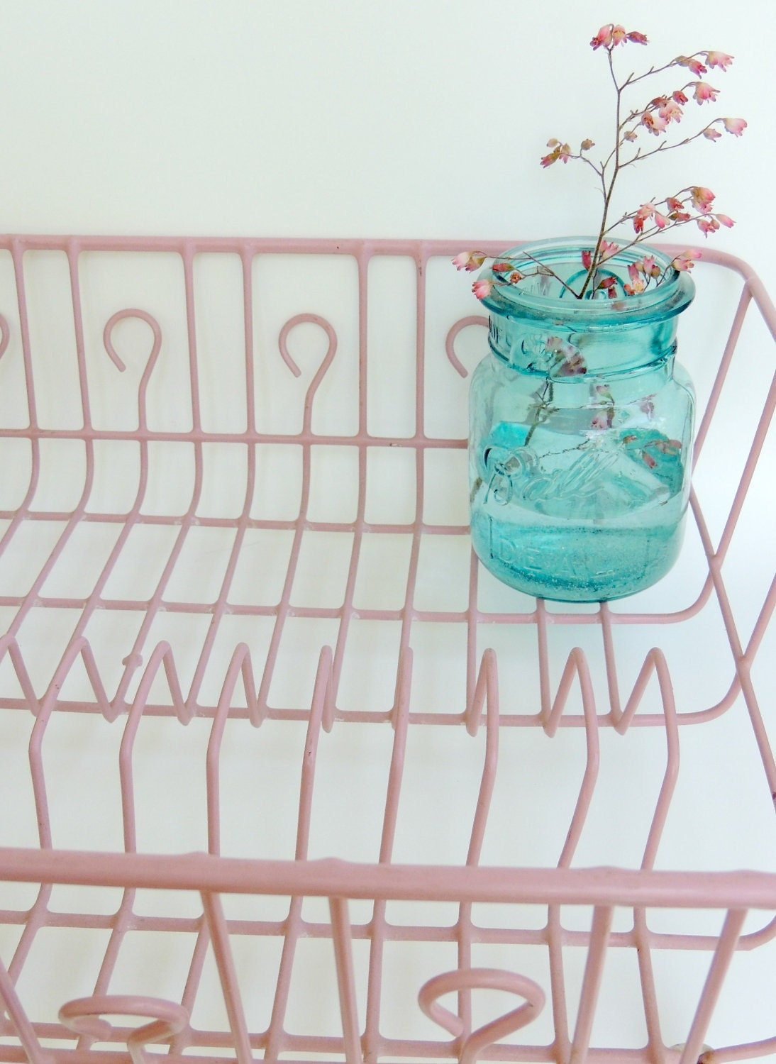 Pink Vintage Dish Drainer Drying Rack Coated Wire Retro