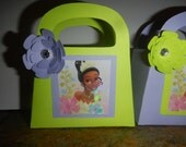 Disney Princess Tiana  party favor/ gift bags purple and lime green with paper flowers